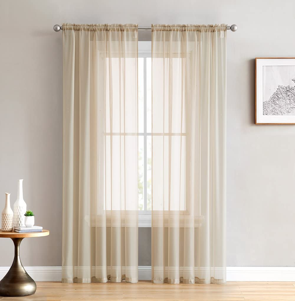 Anjee Solid White Sheer Curtains 63 Inches Long 2 Panels, Each 54 inches by 63 inches Rod Pocket Voile Drapes with Gold Stars for Kids Room