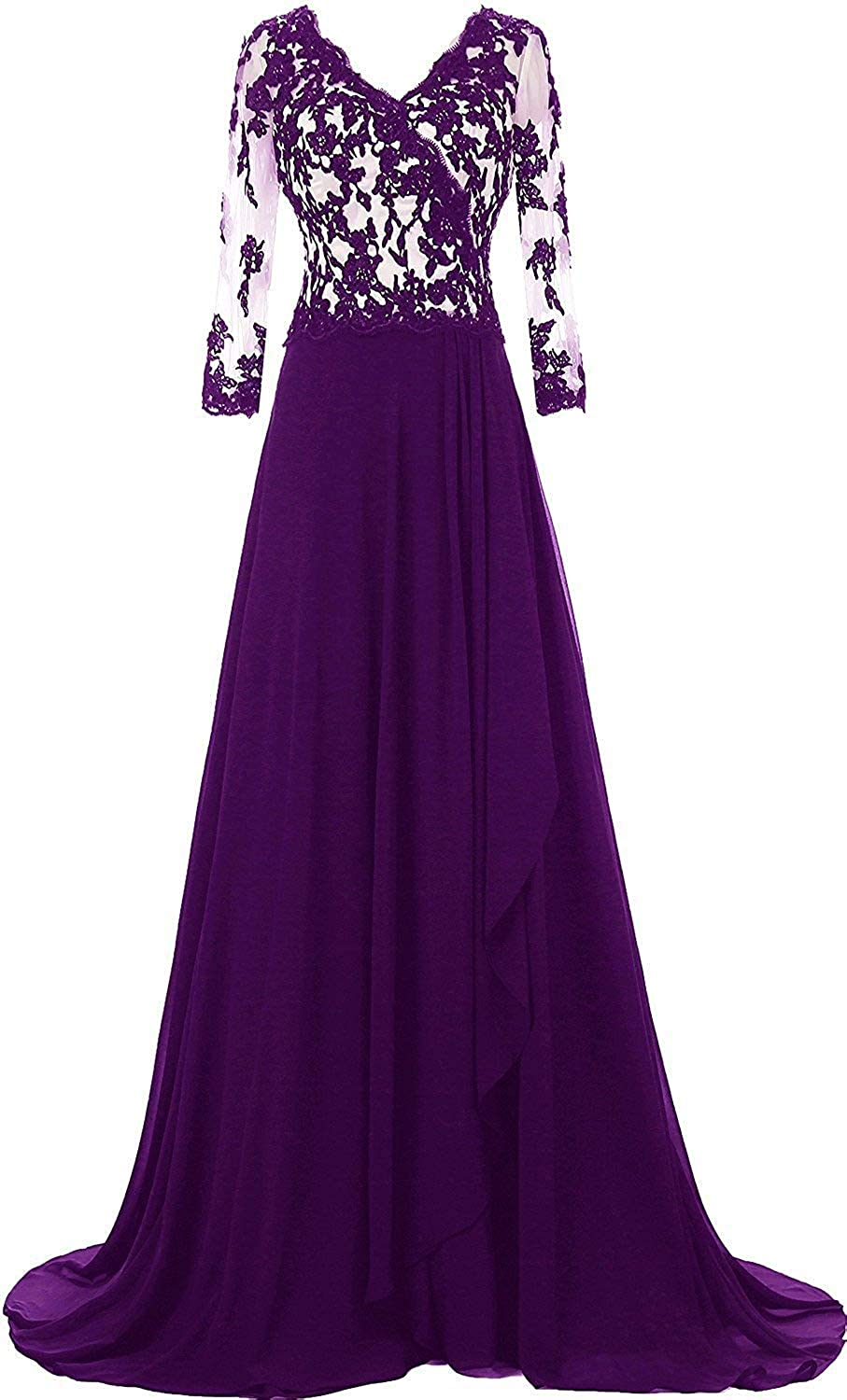 Purple Woman's Applique Mother Of The Bride Dress V Neck With 3 4 Sleeves Formal Evening Dress