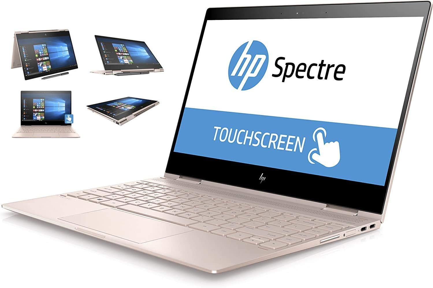 "HP Spectre x360 13t Ultra Light Convertible 2-in-1 Laptop/Tablet (Intel 8th gen Quad Core Processor, 16GB RAM, 512GB SSD, 13.3"" FHD (1920x1080) Touch, Active Stylus Pen, Win 10 Pro) Rose Gold"