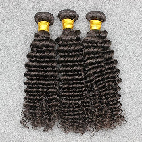 Vinsteen Brazilian Human Hair 3 Bundles Deep Wave 8'' to 30'' Natural Color Thick and Full Can Be Dyed No Shedding (16 18 18)