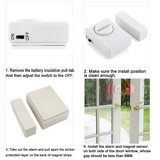 Seguridad en el hogar Guarder MAEKIJOY Mini alarma antirrobo accionada magn/éticamente para puertas o ventanas Kit de alarma para ventana // puerta 100dB, 4 piezas