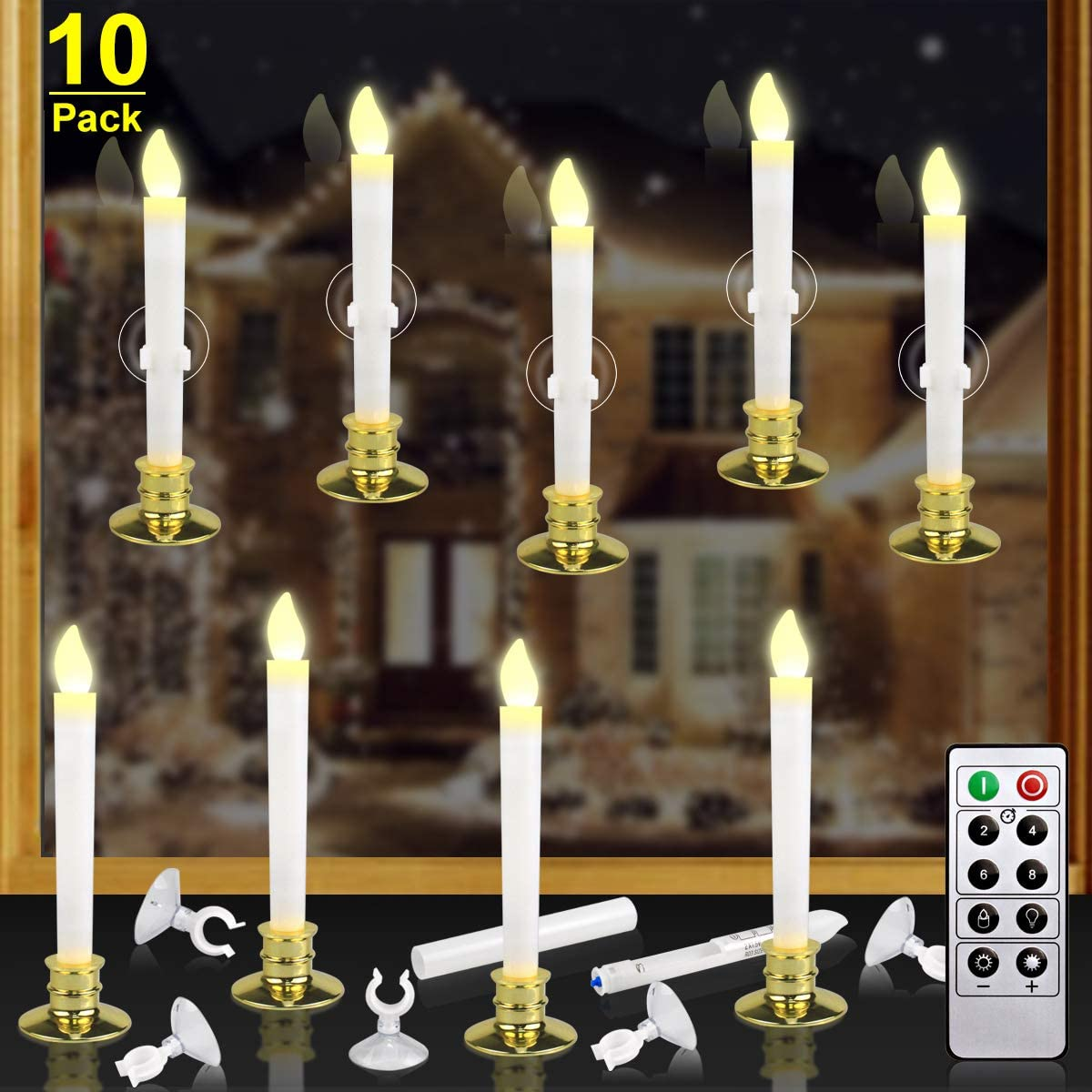 Kithouse 10 Set Christmas Window Candles Lights with Timer Battery Operated Electric LED Taper Candles Flameless Flickering for Windows Christmas Decor, Gold Candle Holders Suction Cups Included