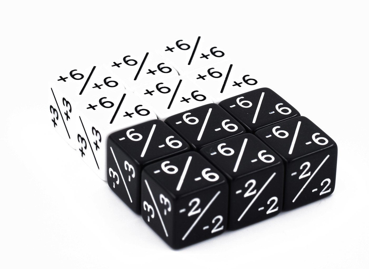 Dice Counters Pack of 12 D6 Dice / White +1/+1 & Black -1/-1 / for Magic / The Gathering and other games / CCG MTG