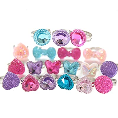 19Pcs Sparkle Adjustable Kids Rings Imitation Gem Glitter Rings Jewel Rings for Kids Girls Birthday Gift Party Favors