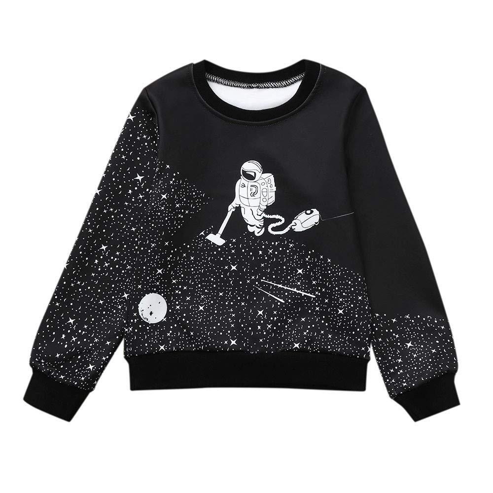 FeiliandaJJ Girl Sweatshirts, Children Baby Girl Casual Cartoon Space Astronaut Warm Pullover Long Sleeve Top 1-6 Years
