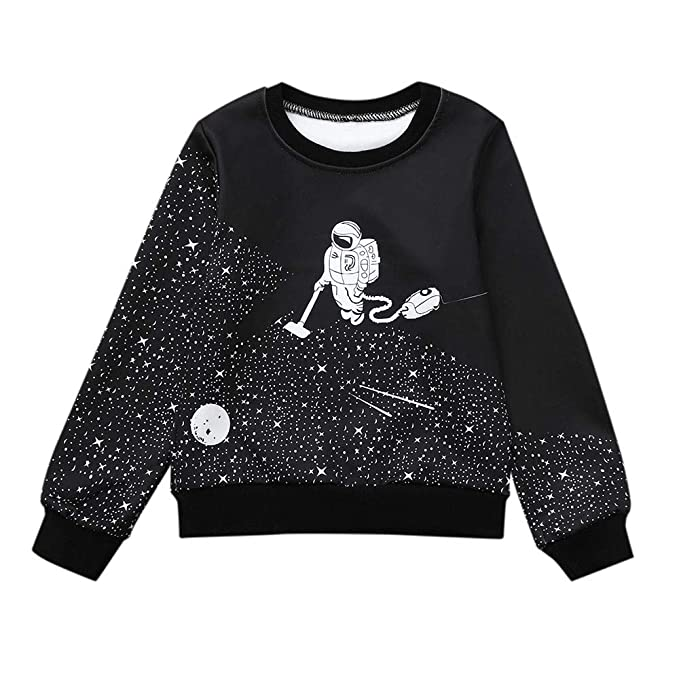 Zerototens Kids Sweatshirt,0-5 Years Old Toddler Kids Clothes Boys Girls Long Sleeve Black T-Shirt Tops Cartoon Animal Pullover Blouse Tee Tops Children Casual Outfit Clothes