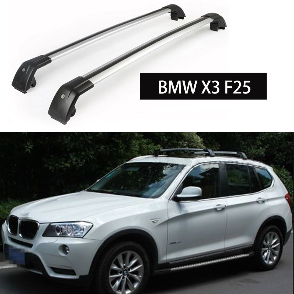 Fit for BMW X3 F25 2011-2017 Lockable Baggage Luggage Racks Roof Racks Rail Cross Bar Crossbar - Silver KPGDG