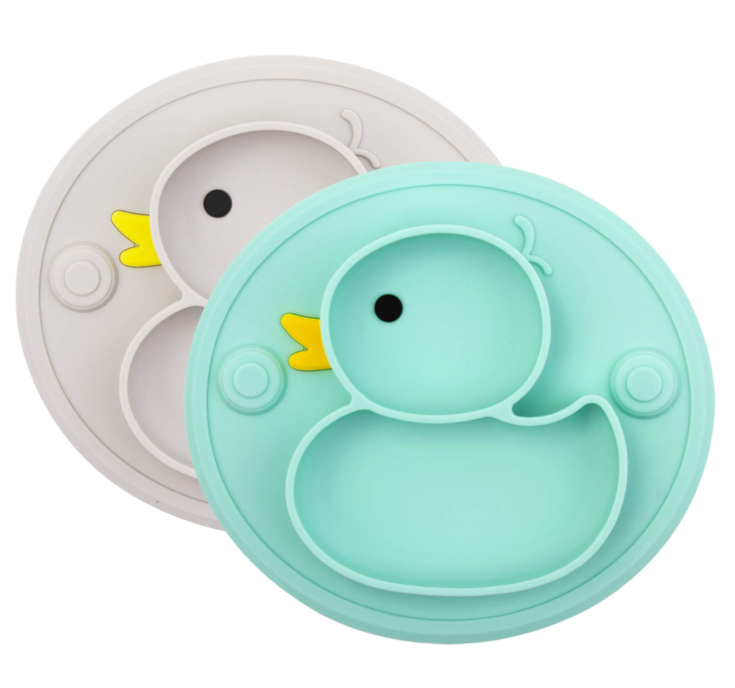 Silicone Divided Toddler Plates - Portable Non Slip Suction Plates for Children Babies and Kids BPA Free Baby Dinner Plate (Duck-Cyan/Gray)