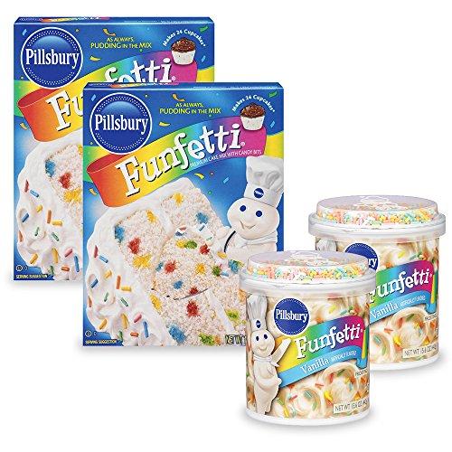 - Pillsbury Moist Premium Cake Mix and Funfetti Vanilla Flavored Frosting (Pack of 4)