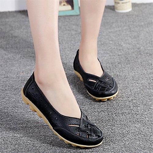 Z-joyee Womens Aushöhlen Casual Leder Fahren Flache Müßiggänger Schuhe Schwarz