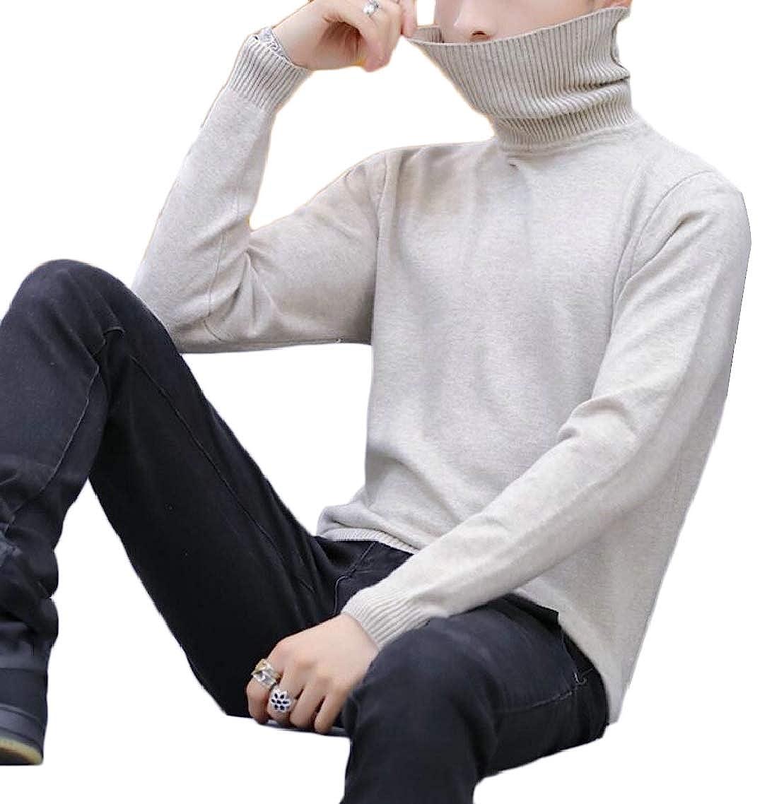 Gocgt Mens Turtleneck Top Long Sleeves Knitted Sweater