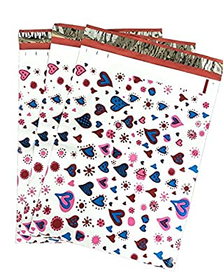 10x13 (100) Blue Pink Hearts Designer Poly Mailers Shipping Envelopes Boutique Custom Bags By ValueMailers