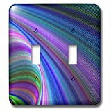 3dRose David Zydd - Colorful Abstract Designs - Sink in Colors - abstract curved graphic - Light Switch Covers - double toggle switch (lsp_286782_2)