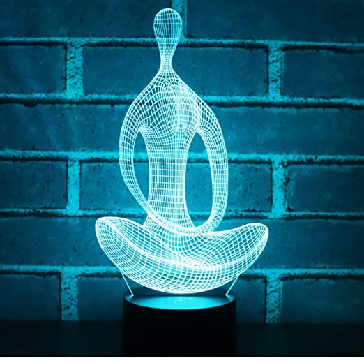 Lámpara de ilusión,3D LED Night Light Yoga de meditación con ...