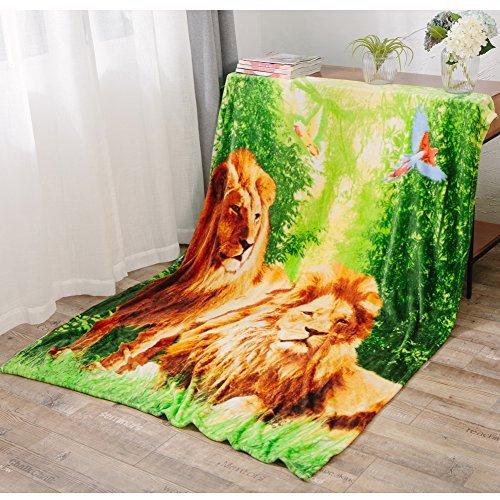 3D Lion Throw Animal Blanket,for Children,Super Soft Warm Bed Banket,Decorative Fleece Blanket Twin(59''x79'')