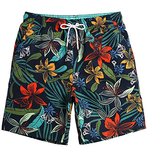MaaMgic Mens Quick Dry Printed Short Swim Trunks with Mesh Lining Swimwear Bathing Suits (Mens Big Hawaiian Swim Trunks)