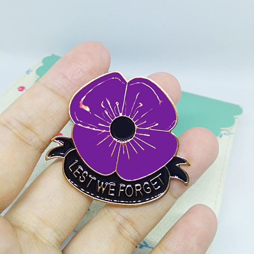 MA/&SN Veterans Day Remembrance Day Memorial Day Gift Poppy Brooch Pins Lest We Forget Flower Badge Broach