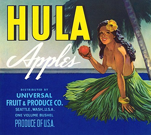 Fruit crate label for a brand of apples packed by Universal Fruit & Produce in Seattle Washington The Native Hawaii girl in a hula skirt holds a delicious apple under a palm tree Poster Print by unkn