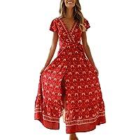 Cindero_Women Lingerie ¡El Mejor Regalo para el día de la Madre! Vestido de Playa Dividido con Manga Corta y Estampado Bohemio para Mujer