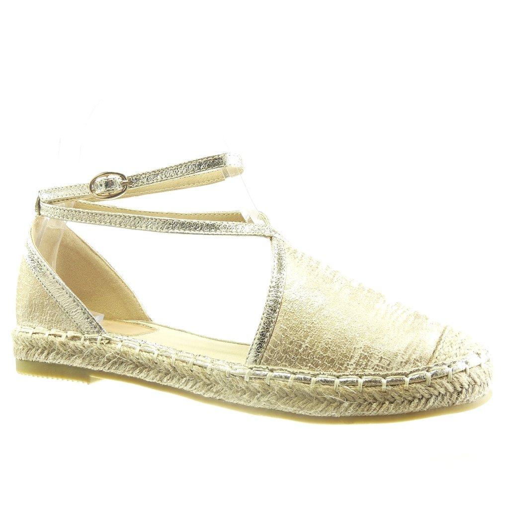 Offen Angkorly Multi-Zaum Damen Schuhe Espadrilles Sandalen Schlangenhaut Seil Blockabsatz 2 cm