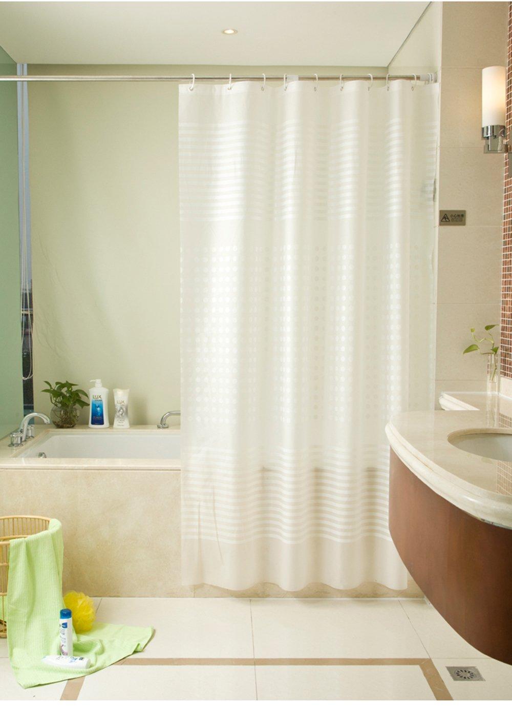 Moderno Semplice Stripe Serie Oversized Dimensioni Tenda Per Doccia ShowPower No.1011, Tenda doccia Materiale PEVA 240 X 200 Centimetri Con 12 Anelli In Plastica (Traslucido)