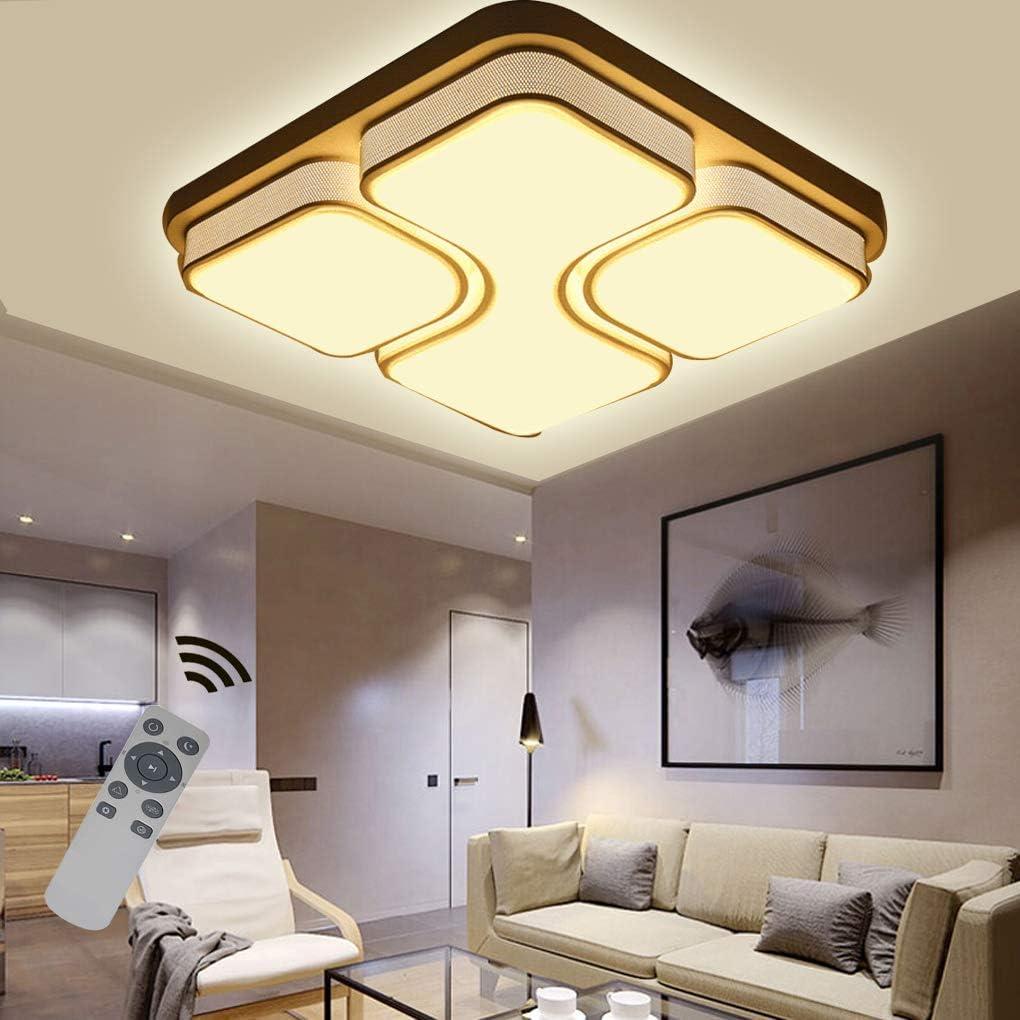 LED Modern Deckenlampe Deckenleuchte Quadrat Energiespar Wohnzimmer Schlafzimmer Korridor Acryl-Schirm Rahmen Flur Lampe Schlafzimmer Küche Energie Sparen Licht Durchbohrte Wandleucht Weiß-64w Dimmbar