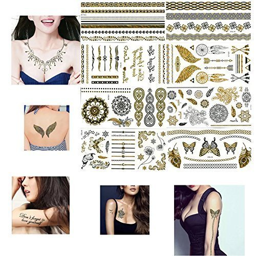 6 Sheets Bollywood Dance Bohemian Flower Child Hippie Rose Gold Temporary Tattoo Cover up Mandala Mehndi Metallic Flash Fake Tattoos 120+ Gold Shimmering Body jewelery Stickers Stretch Mark Cover ()