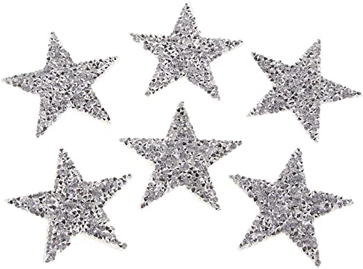 IPOTCH 6 Piezas Plata Parches de Lentejuela Pegatinas Estrellas Decoraci/ón para Ropa