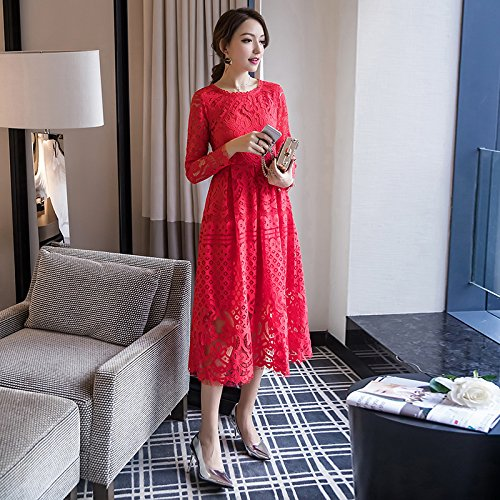 Largo ZHUDJ Vestidos Tostadas Gules Primavera Vestido L De Vestidos Rojo En El Encaje Slim Xl wa0qwFWx