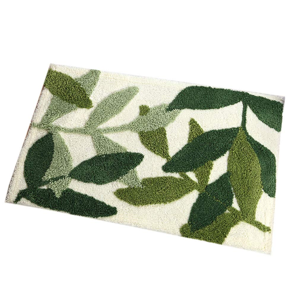 Smartcoco Leaf Thickening Flocking Non-Slip Foot Pad Carpet for Bathroom Living Room Kitchen Bedroom, 19.7'' x 31.5''