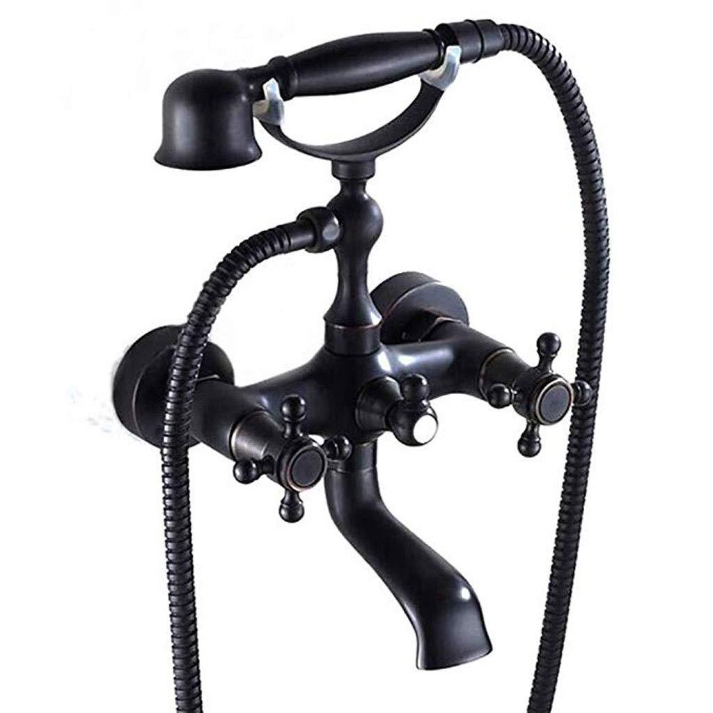 ZQG Brass black bronze bathtub faucet black hot and cold shower set