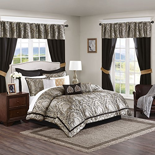 (Madison Park MPE10-221 Essentials Michelle Room in a Bag King Black )