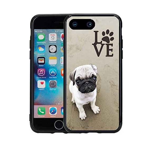 finest selection dadc2 416c5 Pug Love with Paw for iPhone 7 Plus (2016) & iPhone 8 Plus (2017) (5.5)  Case Cover by Atomic Market