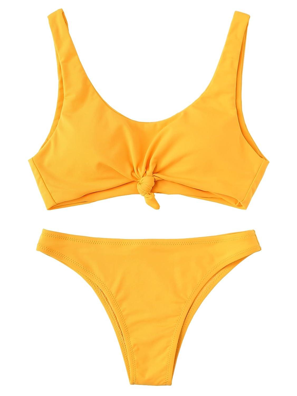 1 yellow SweatyRocks Women's Two Piece Bathing Suit Padded Knot Plaid Bikini Set