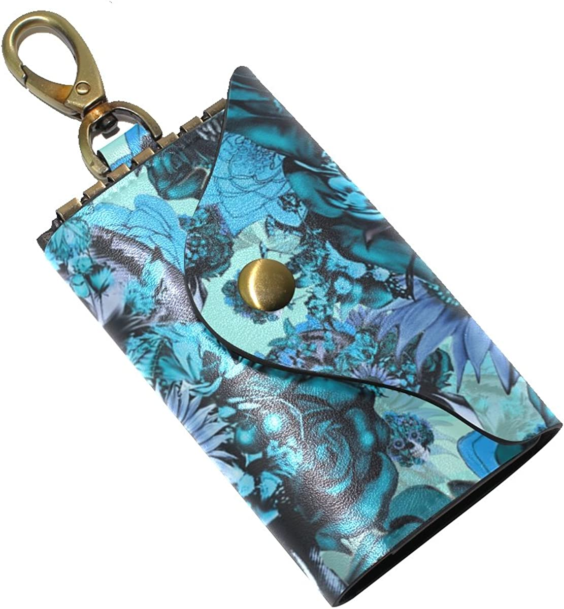 DEYYA Blue Sugar Skull Leather Key Case Wallets Unisex Keychain Key Holder with 6 Hooks Snap Closure