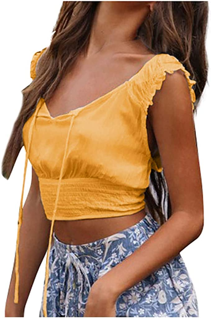 Farmerl Tops for Women Bandage Ruffle Strap Knot Front Crop Short Camis Vest-New