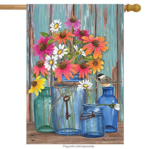 Farm Fresh Flowers Spring House Flag Mason Jars 28
