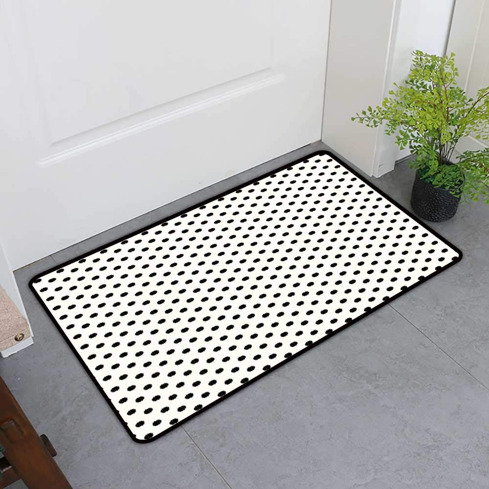 TableCovers&Home Pet Door Mat, Geometric Custom Rugs for Kids Room, Old Fashion Large Polka Dots Spots with Modern Digital Effects Minimalist Design (Black White, H20 x W32)