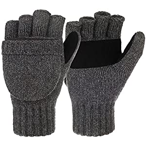 Loritta Winter Gloves Warm Wool Knit Flip Fingerless Gloves Mittens for Women Gifts