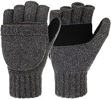 Korlon Winter Warm Wool Knitted Convertible Gloves Mittens with Mitten Cover, Dark Gray, One Size
