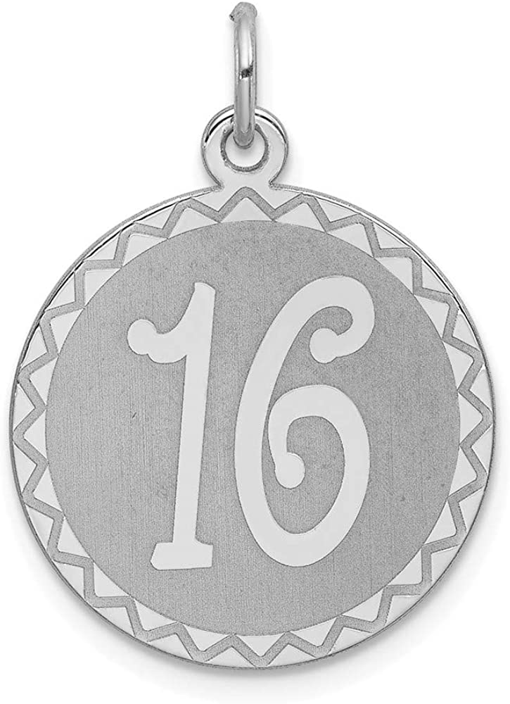Mireval Sterling Silver Sweet 16 Charm on a Sterling Silver Chain Necklace 16-20