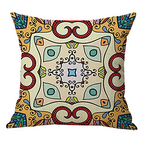 Pidada Square Throw Pillow Case Retro Mandala Moroccan Ethnic Style Pattern Cotton Blend Linen Decorative Cushion Case Cushion Cover Pillowcase for Sofa Bed Chair Bench 18 X 18 Inch - Urban Order Number Outfitters