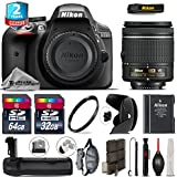 Holiday Saving Bundle for D3300 DSLR Camera + AF-P 18-55mm + Battery Grip + 64GB Class 10 Memory Card + 2yr Extended Warranty + 32GB Class 10 Memory Card + Backup Battery - International Version