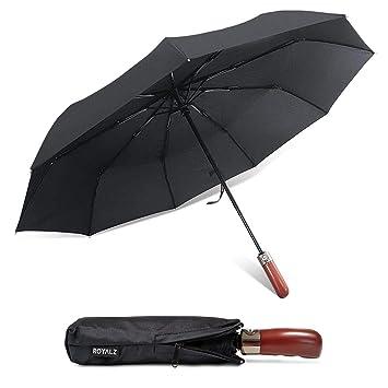 ROYALZ Paraguas Plegable Mujer y Hombre de Bolsillo Resistente a tormentas Mango de Madera automático con Bolsa Protectora, Color:Negro: Amazon.es: Equipaje