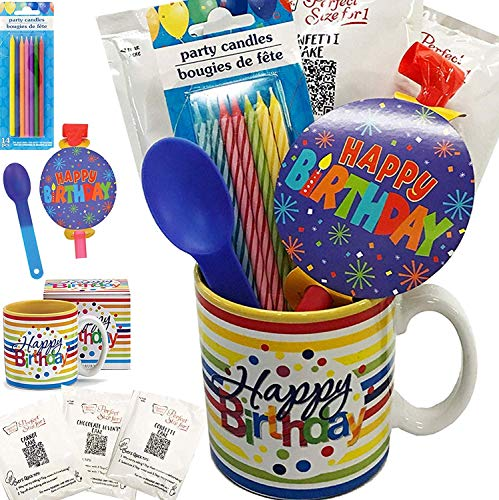 Mug Birthday - Birthday Cakes Mugs - It's a Party in a Mug - Comes With Cake, Blowout, Candles, Spoon and Birthday Mug - Women, Men, Him, Her, Kids of All Ages (Birthday Mug - Party in a Mug! Stripes)