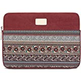 BLOOMSTAR 13 Inch Bohemian Canvas Protective Laptop Sleeve Bag Notebook Case Cover for MacBook, Chromebook, Acer, Dell, HP, Samsung, Sony (Red)