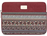 BLOOMSTAR 14 Inch Bohemian Canvas Protective Laptop Sleeve Bag Notebook Case Cover for MacBook, Chromebook, Acer, Dell, HP, Samsung, Sony (Horizontal, Red)