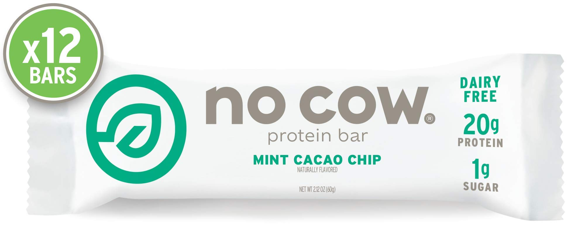No Cow Protein bar, Mint Cacao Chip, 20g Plant Based Protein, Keto Friendly, Low Sugar, Dairy Free, Gluten Free, Vegan, High Fiber, Non-GMO, 12Count by No Cow