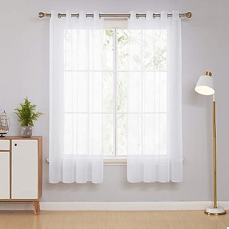 nouvelle apparence design de qualité plus gros rabais Deconovo Lot de 2 Voilage Salon pour Chambre Enfant Garcon Decoration à  Oeillets Blanc 140x183cm