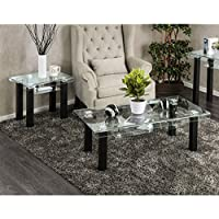 Furniture of America Kassell Contemporary 2-piece Glass Top Matte Black Accent Table Set